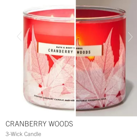 """🕯NWT‼️ BBW """"Cranberry Woods"""" 3-wick Candle"""